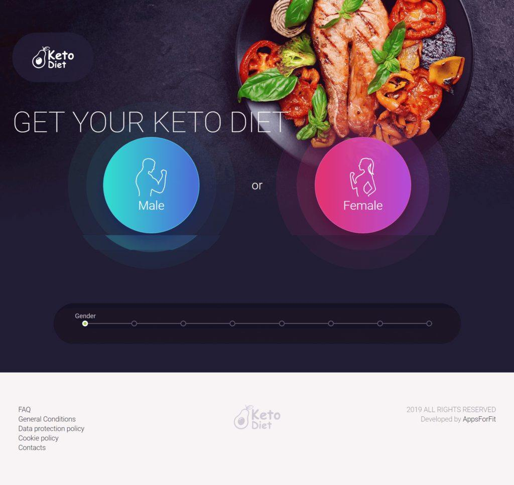 Example landing page Keto diet
