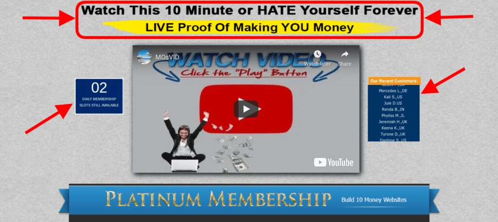 Sales' page hype the affiliate millionaire club