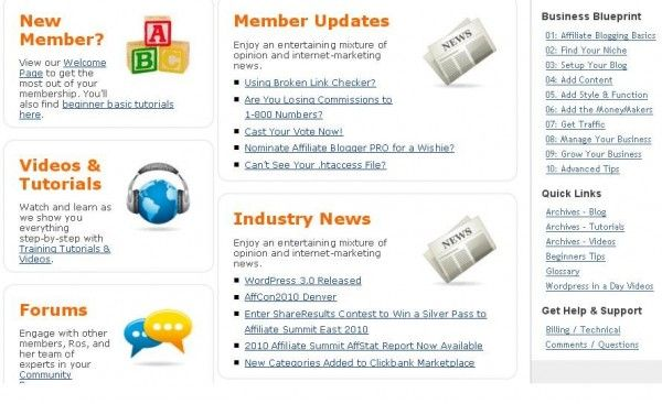 The courses of Affiliate Blogger Pro