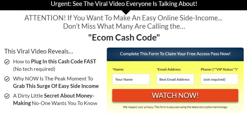Ecom Cash Code promises!