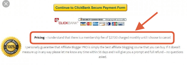 Affiliate Blogger Pro fee reminder