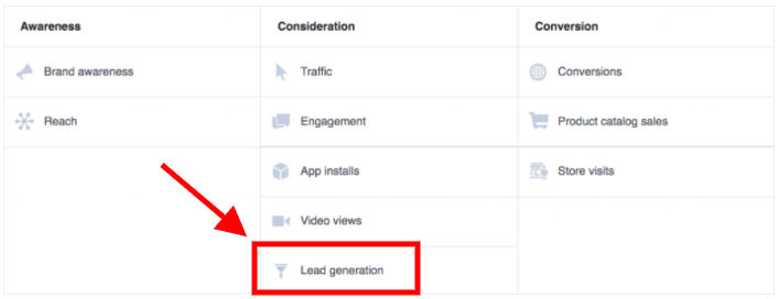 """select the """"Lead Generation"""" campaign goal"""